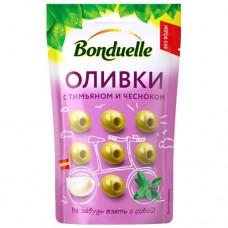 """Оливки с тимьяном и чесноком """"Bonduelle"""" б/к дой-пак 70гр"""